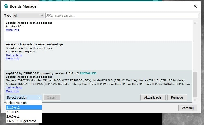 Arduino IDE - Boards Manager - instalacja płytki ESP8266