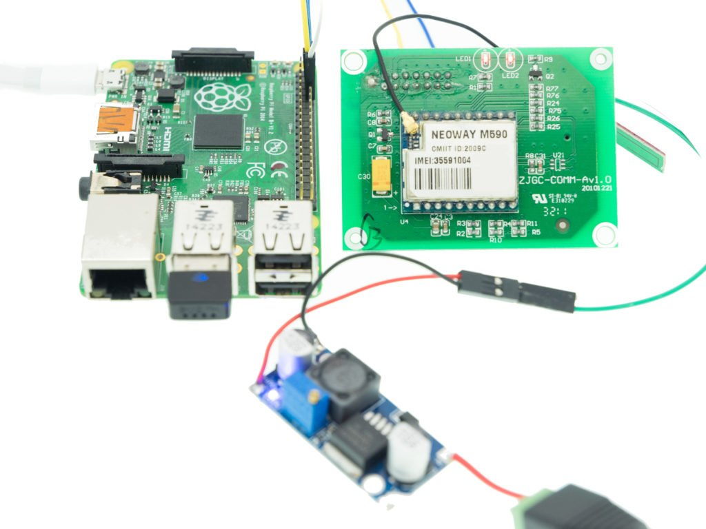 The Raspberry Pi with GSM M590 module