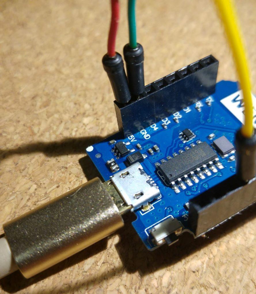 Podłączenie zasilania SDS011 przez Wemos D1 mini