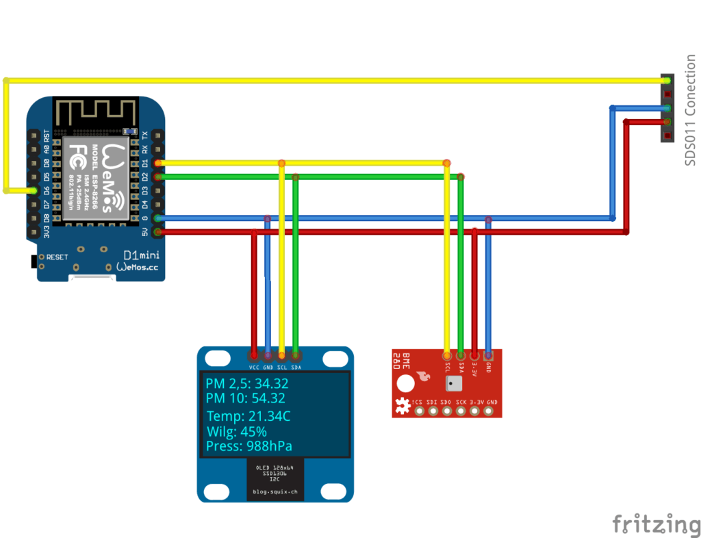 Wemos D1 mini, SDS1306, BME280 - connection schema
