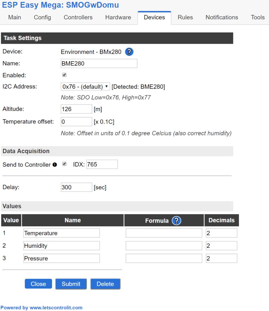 BME280 ESP Easy MEGA 2.0 - konfiguracja