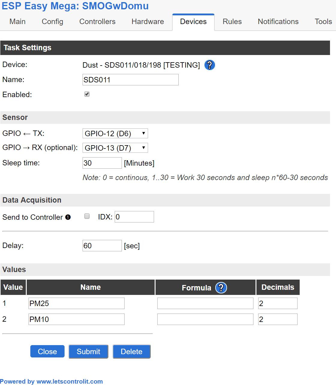 SDS011 ESP Easy MEGA 2.0 - konfiguracja