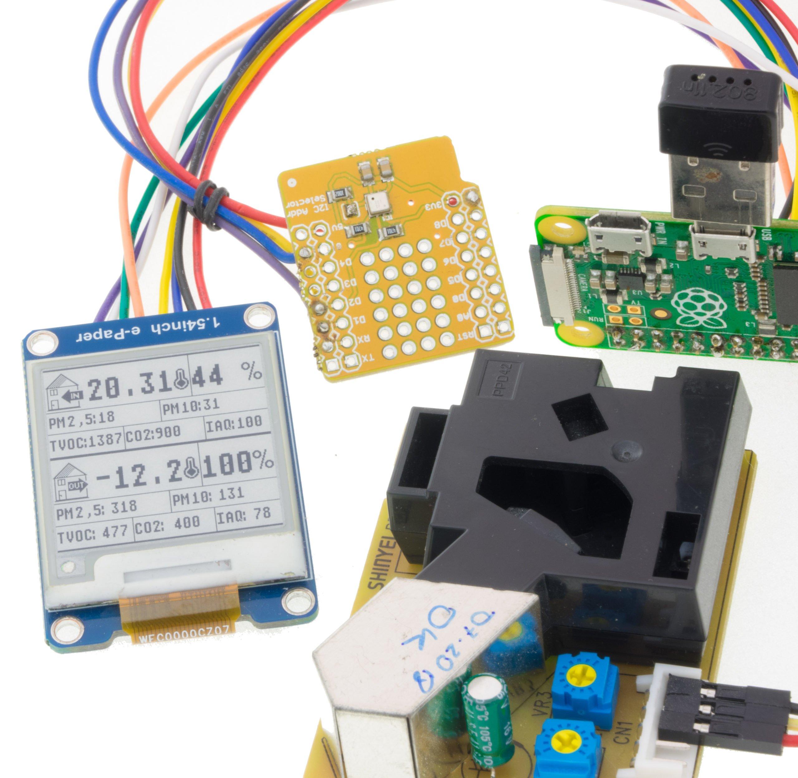 Raspberruy Pi Zero with ePaper and sensors